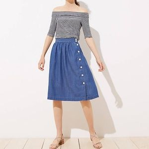 NWT LOFT SIDE BUTTON CHAMBRAY SKIRT 4